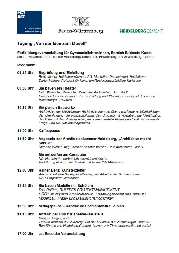 Lehrerfortbildung 2011 Agenda